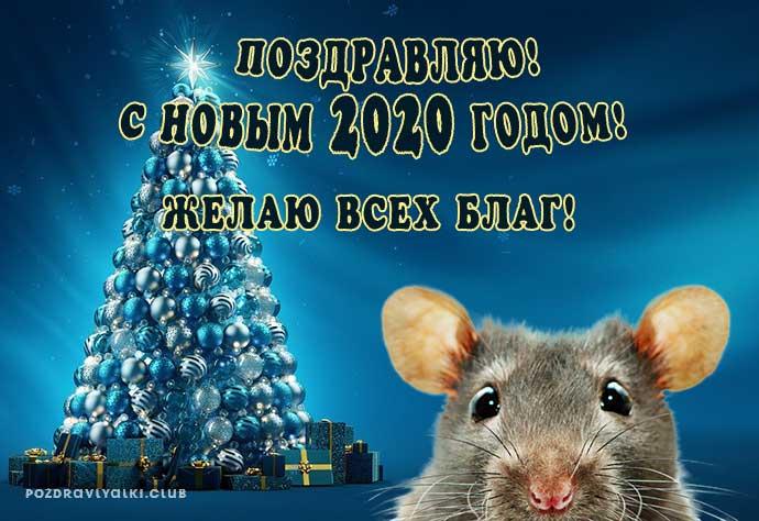 Открытка С Новым годом поздравляю желаю всех благ год крысы 2020