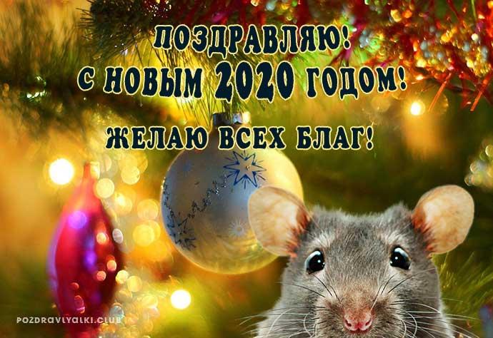 Открытка С Новым 2020 годом поздравляю желаю всех благ